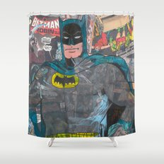 Vintage Comic Bat man Shower Curtain