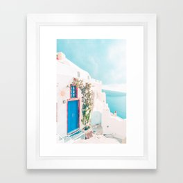 Santorini Greece Blue Door Cozy Photography Framed Art Print
