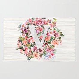 Initial Letter V Watercolor Flower Rug