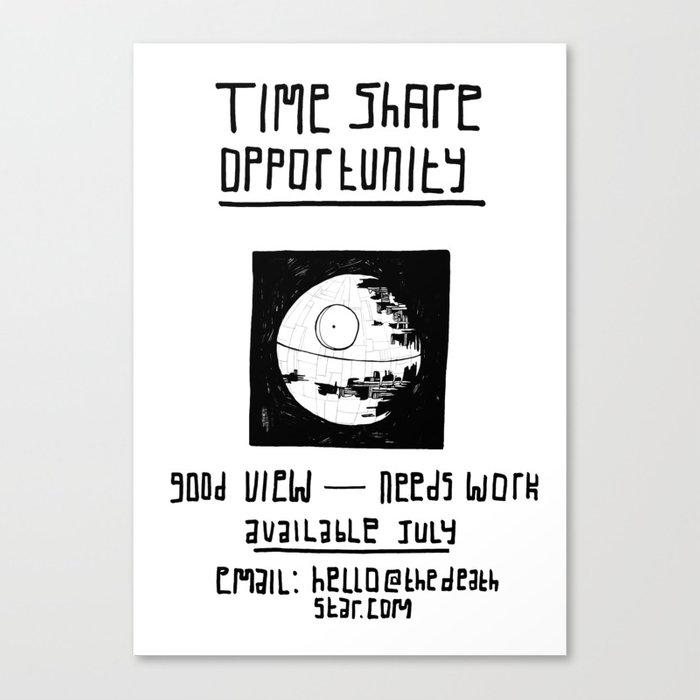 Black Death Star 'Time Share' digital print Canvas Print