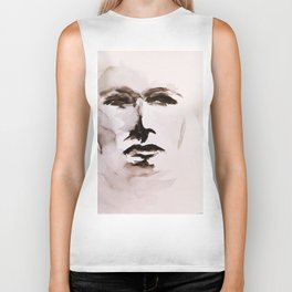 Watercolor Face Biker Tank