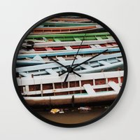 boats Wall Clocks featuring Boats by BTP Designs