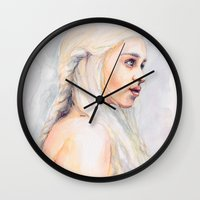 danny ivan Wall Clocks featuring Danny by Maria Bruggeman