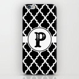 Black Monogram: Letter P iPhone Skin