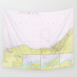 Vintage Lake Erie Coast Map (1965) Wall Tapestry