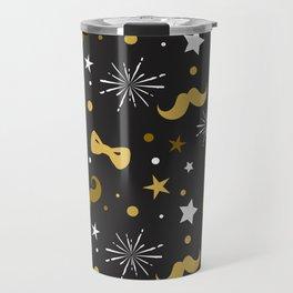 Festive gold and white mustache & bowties pattern Travel Mug