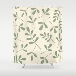 Green on Cream Assorted Leaf Silhouettes Shower Curtain