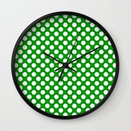 White and green polka dots Wall Clock