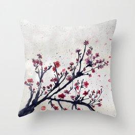 Sakura Sakura watercolour Throw Pillow