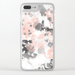 grey and millennial pink abstract painting trendy canvas art decor minimalist Clear iPhone Case