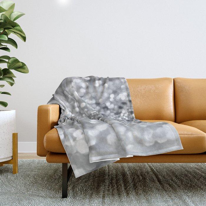 Silver Gray Lady Glitter #1 #shiny #decor #art #society6 Throw Blanket