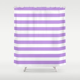 Narrow Horizontal Stripes - White and Light Violet Shower Curtain