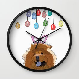 Happy Easter - Chow Chow Wall Clock