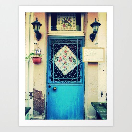 vintage door in cunda island Art Print