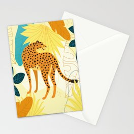 Cheetah colourful tropical leaves wallpaper, wildlife camouflage leopard print, trendy illustration Stationery Cards
