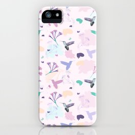 Hummingbird and flower pastel petal pattern iPhone Case