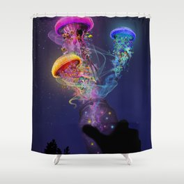 Electric Jellyfish World Released Shower Curtain