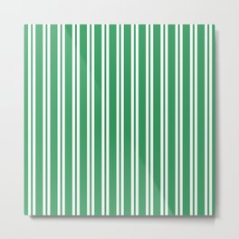 Kelly Green and White Wide Small Wide Stripes Metal Print