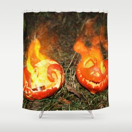 Flaming Pumpkins Shower Curtain