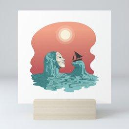 Meet the Sea Ghost - Aesthetic sailboat seafare Mini Art Print