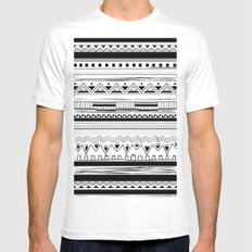 Tribal Pattern Black Mens Fitted Tee White MEDIUM