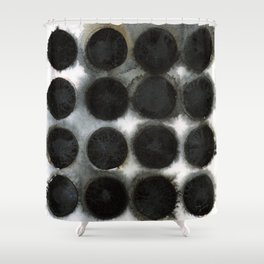 WATERCOLOUR DISCS: Black Spinel Shower Curtain