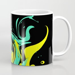 Yellow green abstract pattern on a black background .  The splash of waves . Coffee Mug
