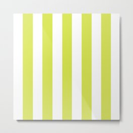 Maximum green yellow - solid color - white vertical lines pattern Metal Print