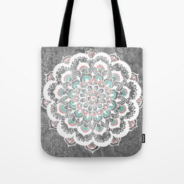 Pastel Floral Medallion on Faded Silver Wood Tote Bag