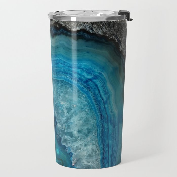 Blue Agate Geode Crystals Travel Mug