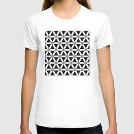 Geometric Pattern 176 (gray triangle grid) T-shirt