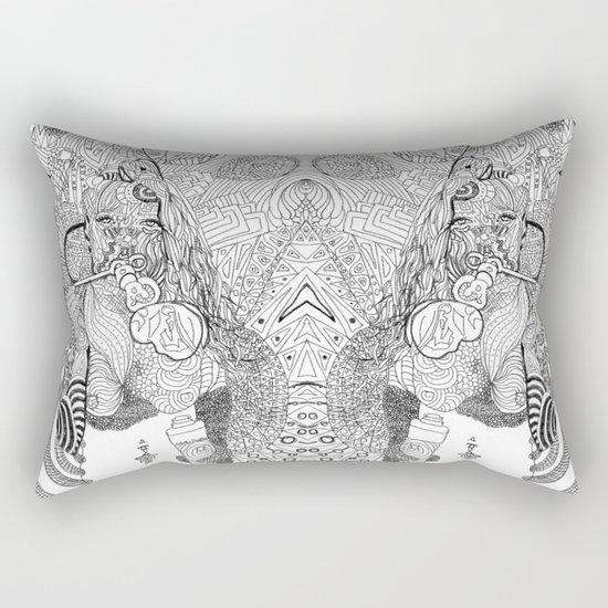 Girl Blowing Bubbles Rectangular Pillow