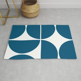 Mid Century Modern Blue Square Rug