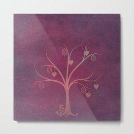 Grunge Garden Canvas Texture:  Winter Tree with Lanterns & Hearts Metal Print