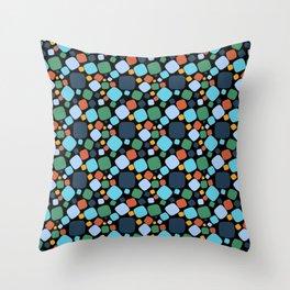 Mid Century Modern Aqua and Blue Atomic Circles Throw Pillow