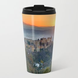Red sunset at The Alhambra Palace Travel Mug