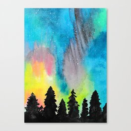 Northern Lights and Starry Sky Canvas Print