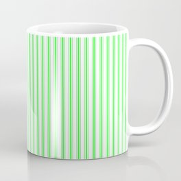 Mattress Ticking Narrow Striped Pattern in Neon Green and White Coffee Mug