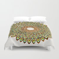 70s Duvet Covers featuring Peacock Mandala – 70s Palette by Cat Coquillette