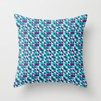 spires Throw Pillows featuring PURPLE TURQUOISE SPIRES  by Oksana Smith