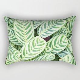 Botanical green white natural tropical leaves Rectangular Pillow