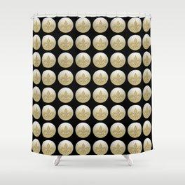 Nola Gold,,,gold, black Shower Curtain