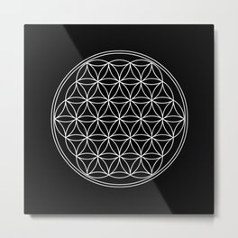 Flower of life on black Metal Print