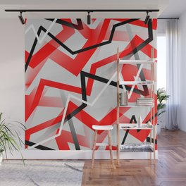 Mass Hysteria Abstract - Red, Black, Gray, White Wall Mural