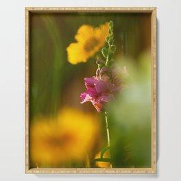 Pink Snapdragon Flower Serving Tray