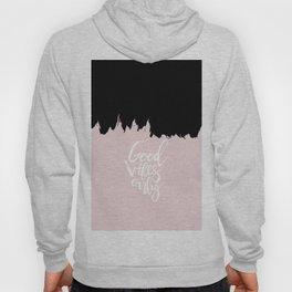 Modern abstract black blush pink brushstrokes typography Hoody