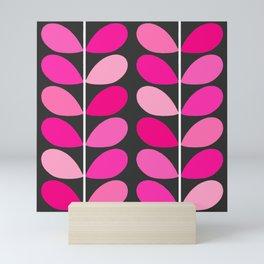 Mid Century Danish Leaves, Fuchsia Pink and Gray Mini Art Print