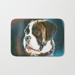Boxer Dog Portrait  Watercolor Digital Art Bath Mat