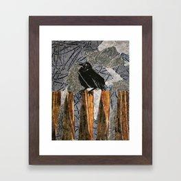 Black Bird on a Gray Day Framed Art Print