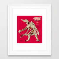 kaiju Framed Art Prints featuring Kaiju Anatomy by MeleeNinja